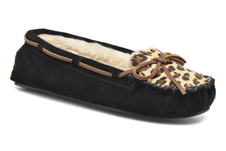 Chaussons Minnetonka Leopard Cally Noir vue détail/paire