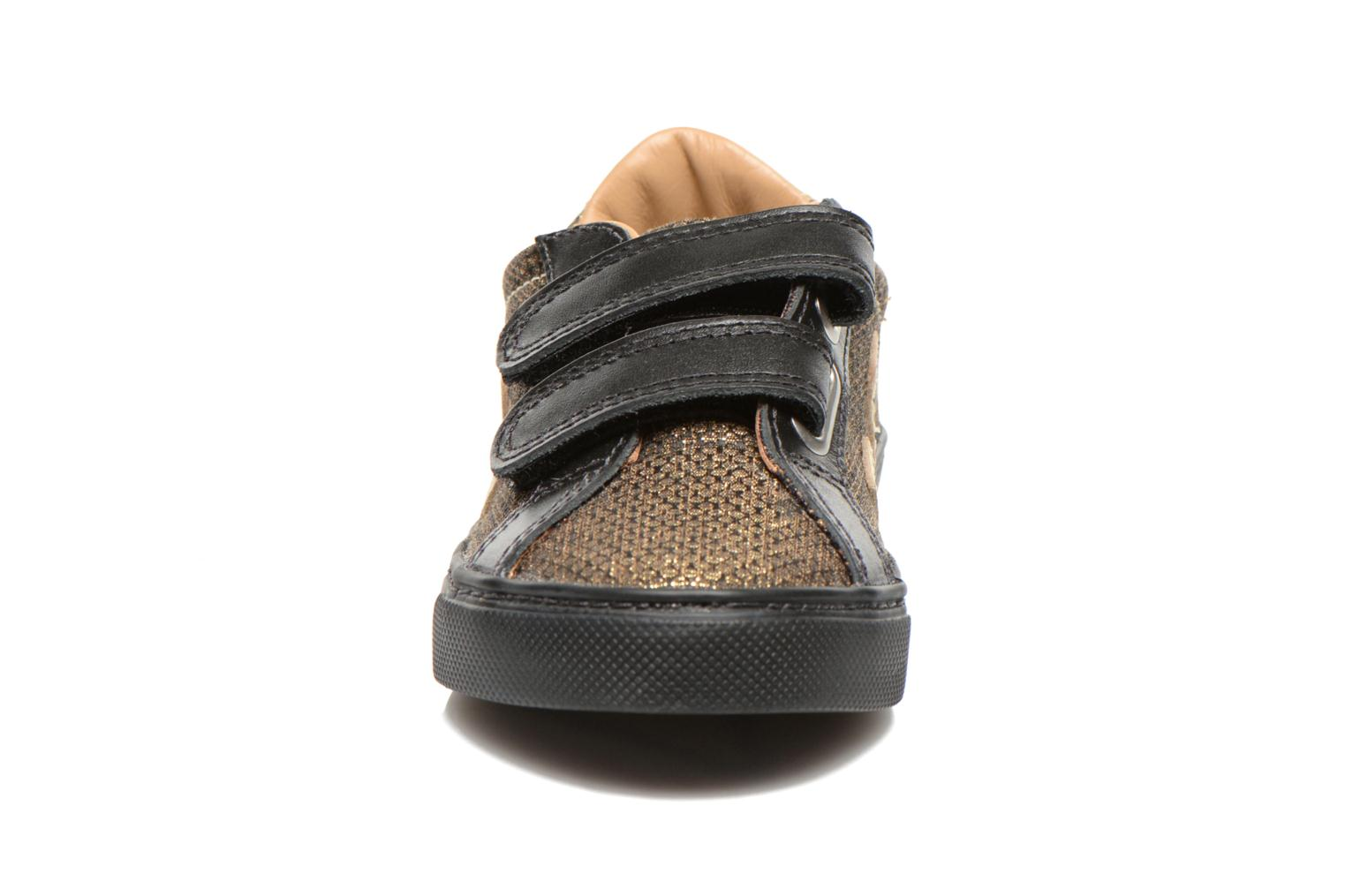 Sneaker Veja Esplar Small Velcro Leather gold/bronze schuhe getragen