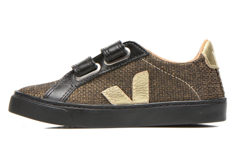 Baskets Veja Esplar Small Velcro Leather Or et bronze vue face