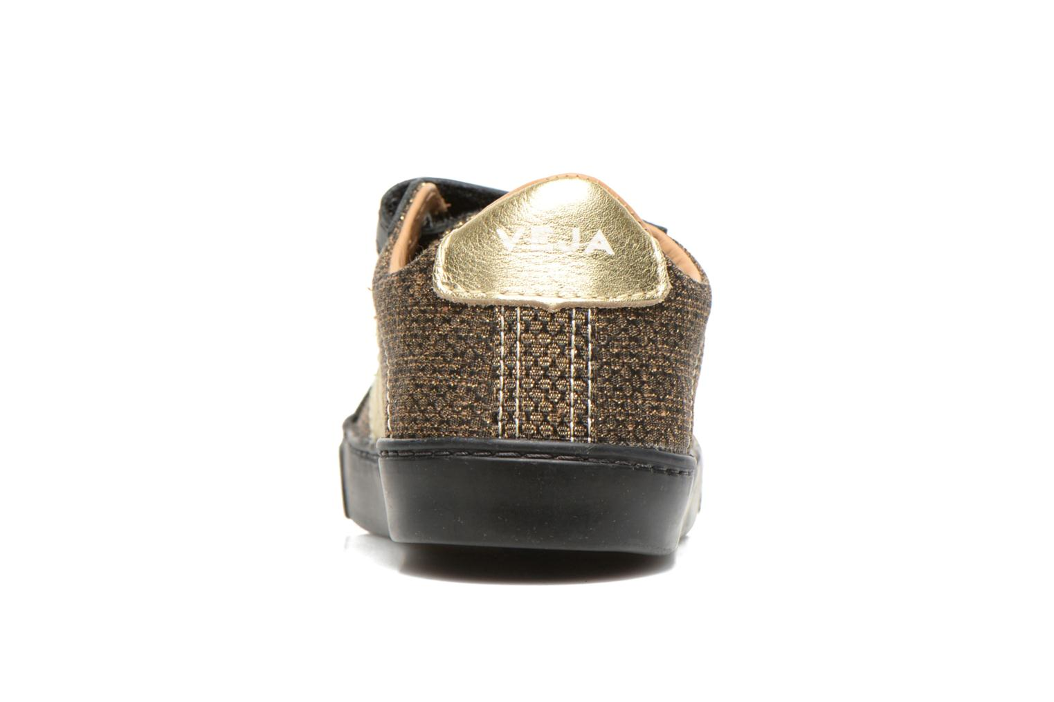 Trainers Veja Esplar Small Velcro Leather Bronze and Gold view from the right