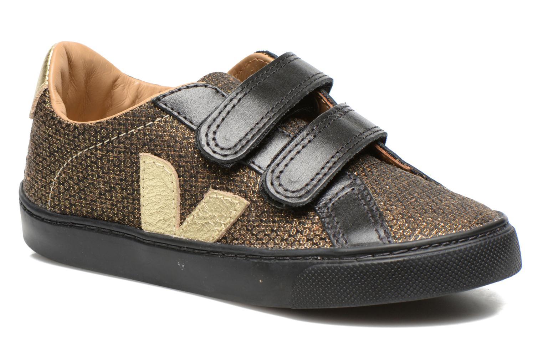 Baskets Veja Esplar Small Velcro Leather Or et bronze vue détail/paire