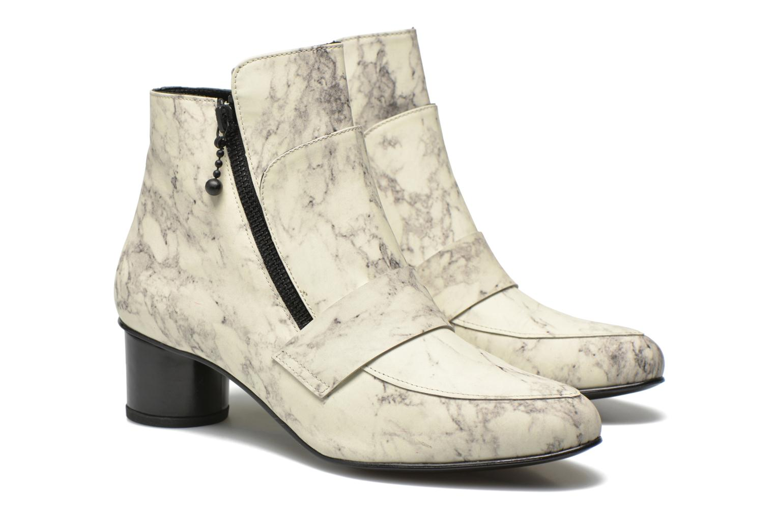 Marble Leather Zan Loafer Bootie Off White Multi 116