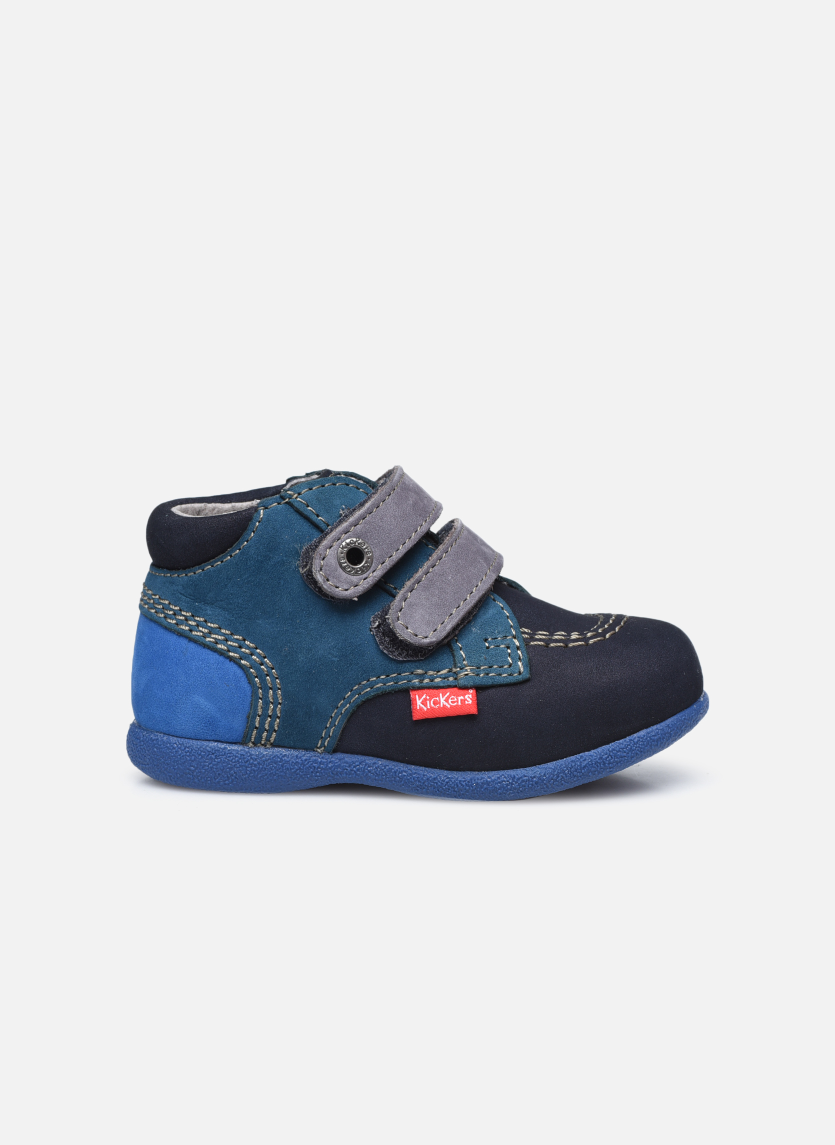 Chaussures à scratch Kickers Babyscratch Bleu vue derrière