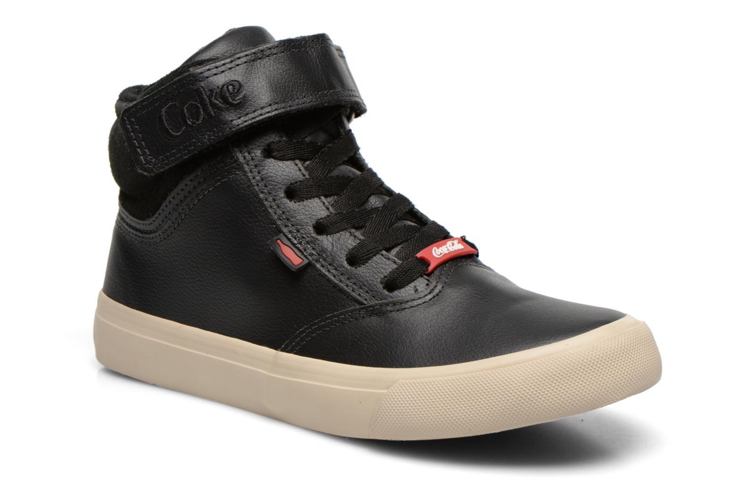 Trainers Coca-cola shoes Mika leather Black detailed view/ Pair view