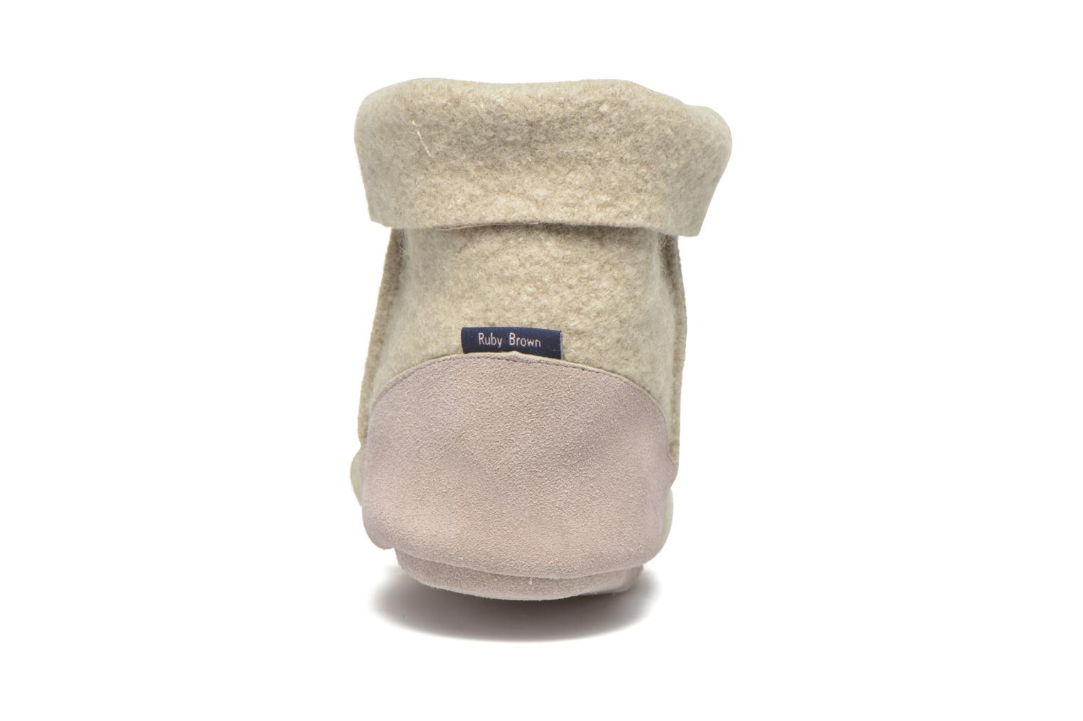 Chaussons Ruby Brown Ladies Bootee with Suede Beige vue droite