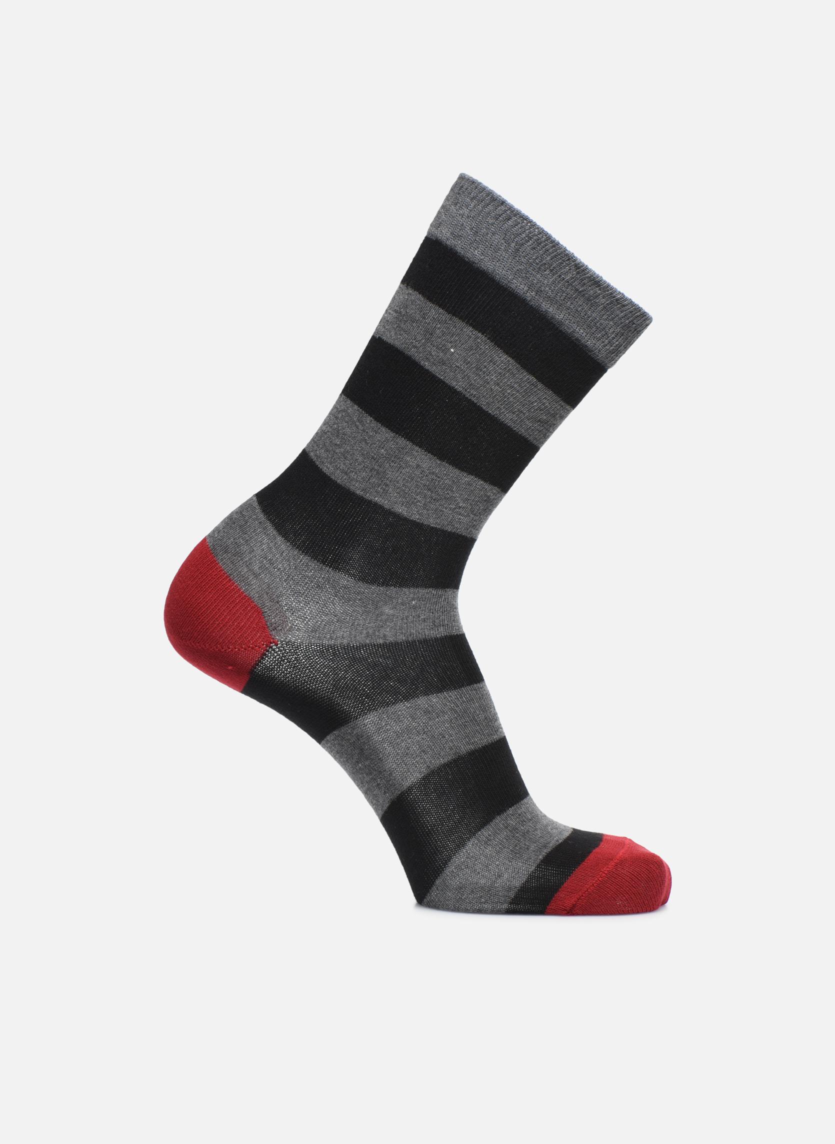 Chaussettes larges rayures gris/noir,