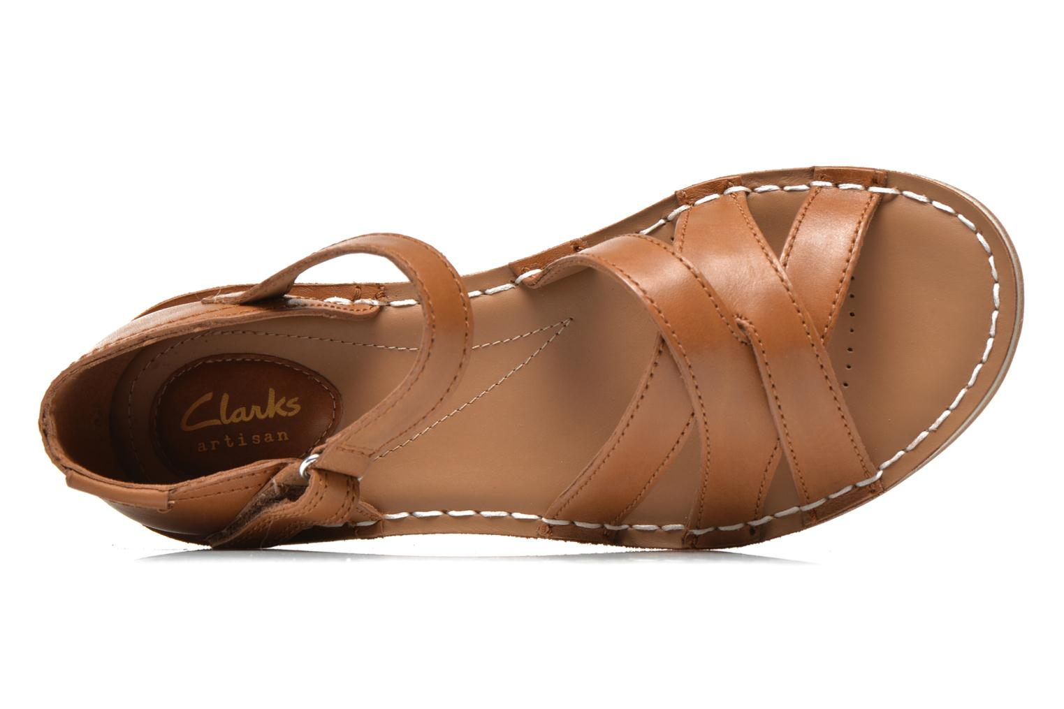 Sandals Clarks Tustin Sahara Brown view from the left