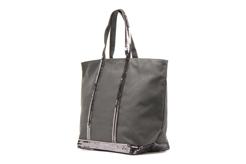 Handväskor Vanessa Bruno Cabas Coton M+ Zip Grå Bild från höger sidan