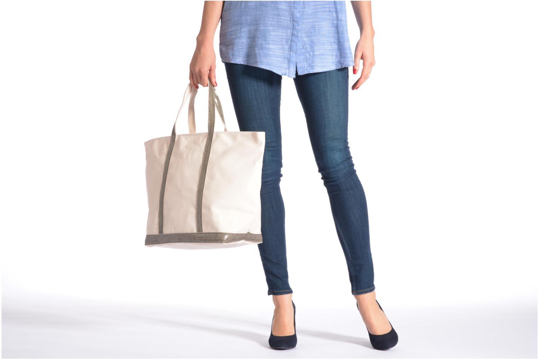 Handtaschen Vanessa Bruno Cabas Coton M+ Zip grau ansicht von oben