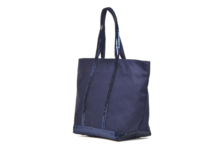 Handväskor Vanessa Bruno Cabas Coton M+ Zip Blå Bild från höger sidan