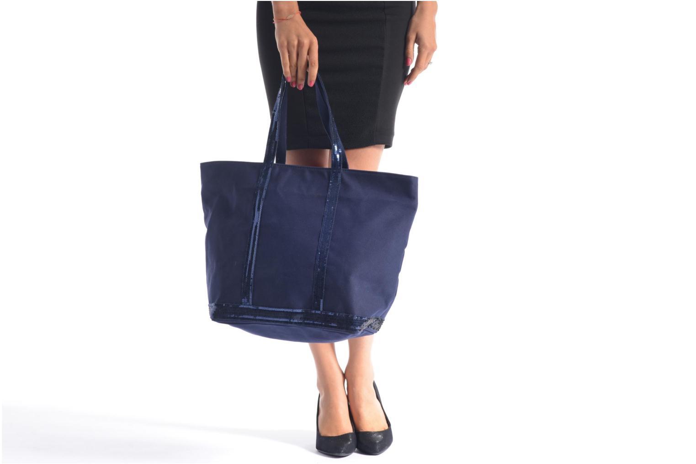 Handväskor Vanessa Bruno Cabas Coton M+ Zip Blå bild från ovan