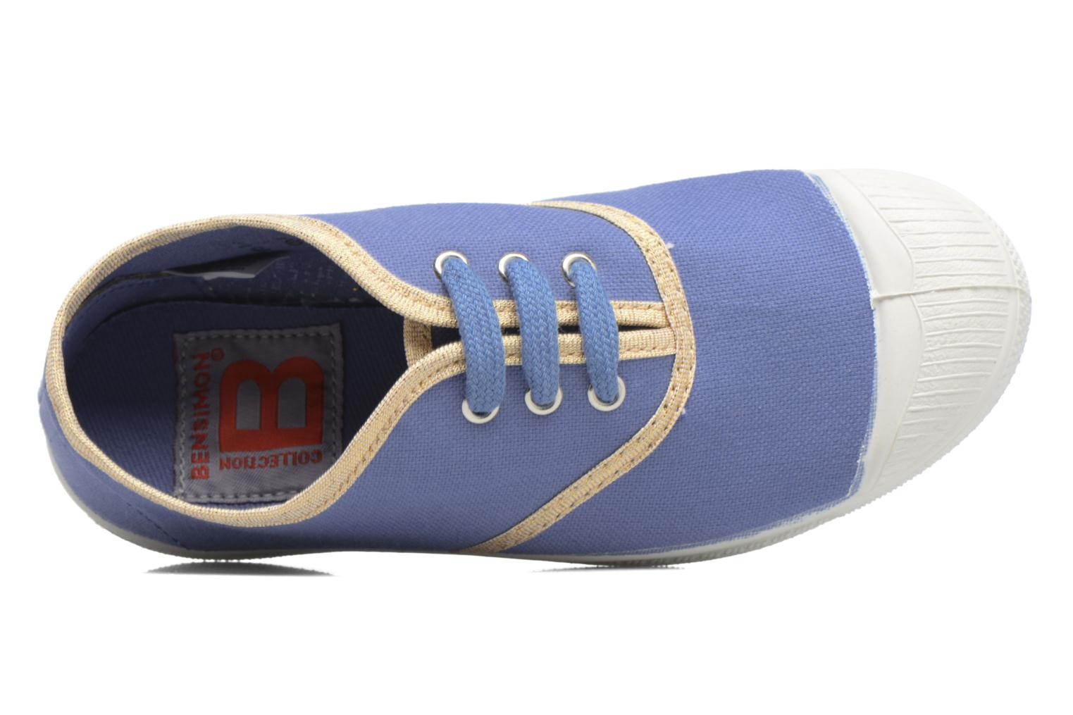 Baskets Bensimon Tennis Lacets Shinypiping E Bleu vue gauche