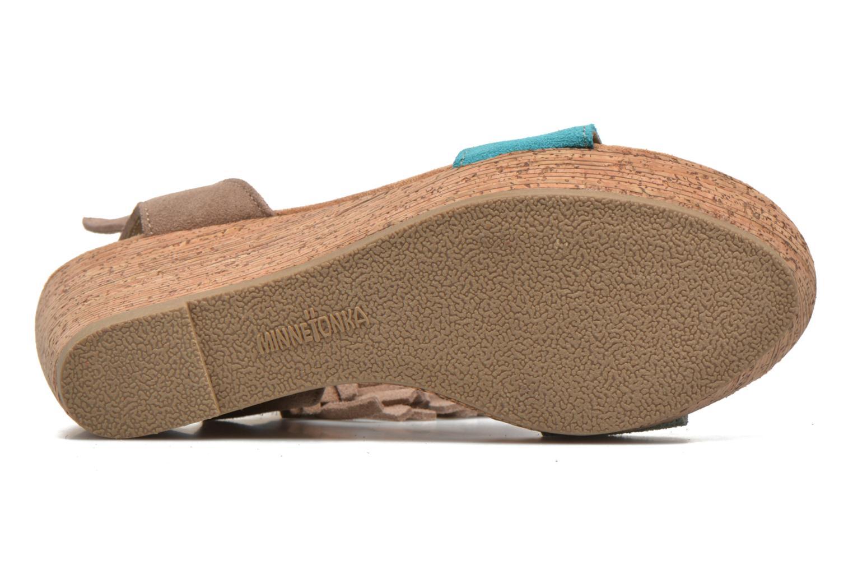 Sandales et nu-pieds Minnetonka Poppy Beige vue haut