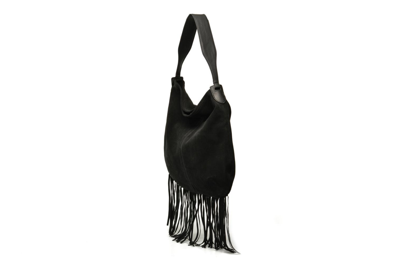 Sacs à main Pieces Tabatha suede Obo bag Noir vue portées chaussures