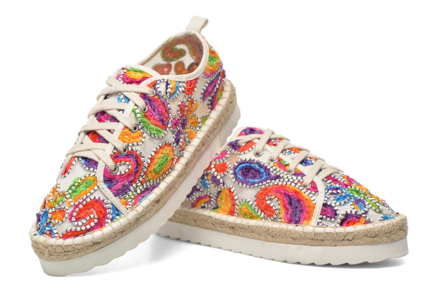 Espadrilles Colors of California Poshpadrille lacet Multicolor 3/4 view
