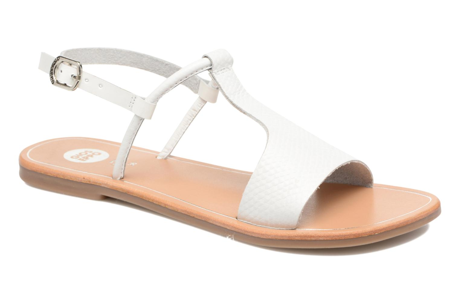 Sandals Gioseppo Bavana White detailed view/ Pair view