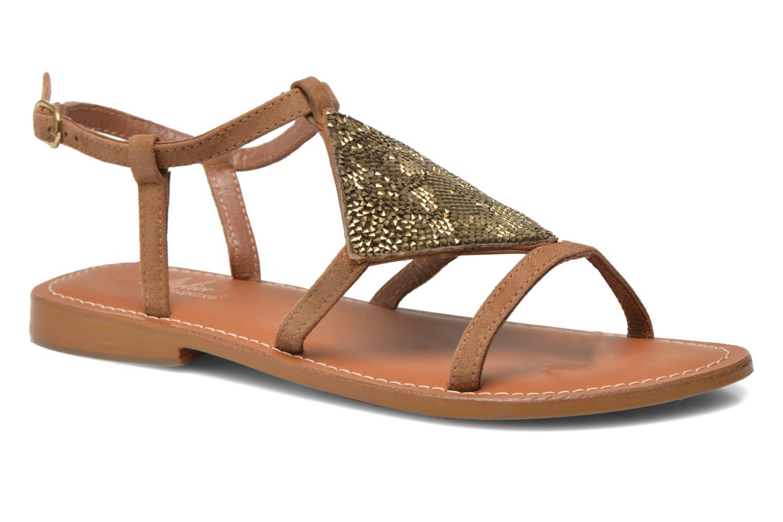 Sandals L'Atelier Tropézien Lucette Brown detailed view/ Pair view