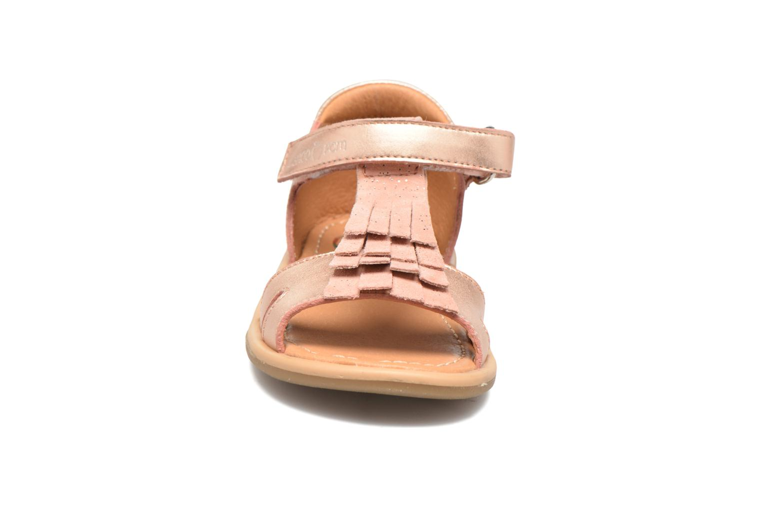Sandals Shoo Pom Tity Fringe Bronze and Gold model view