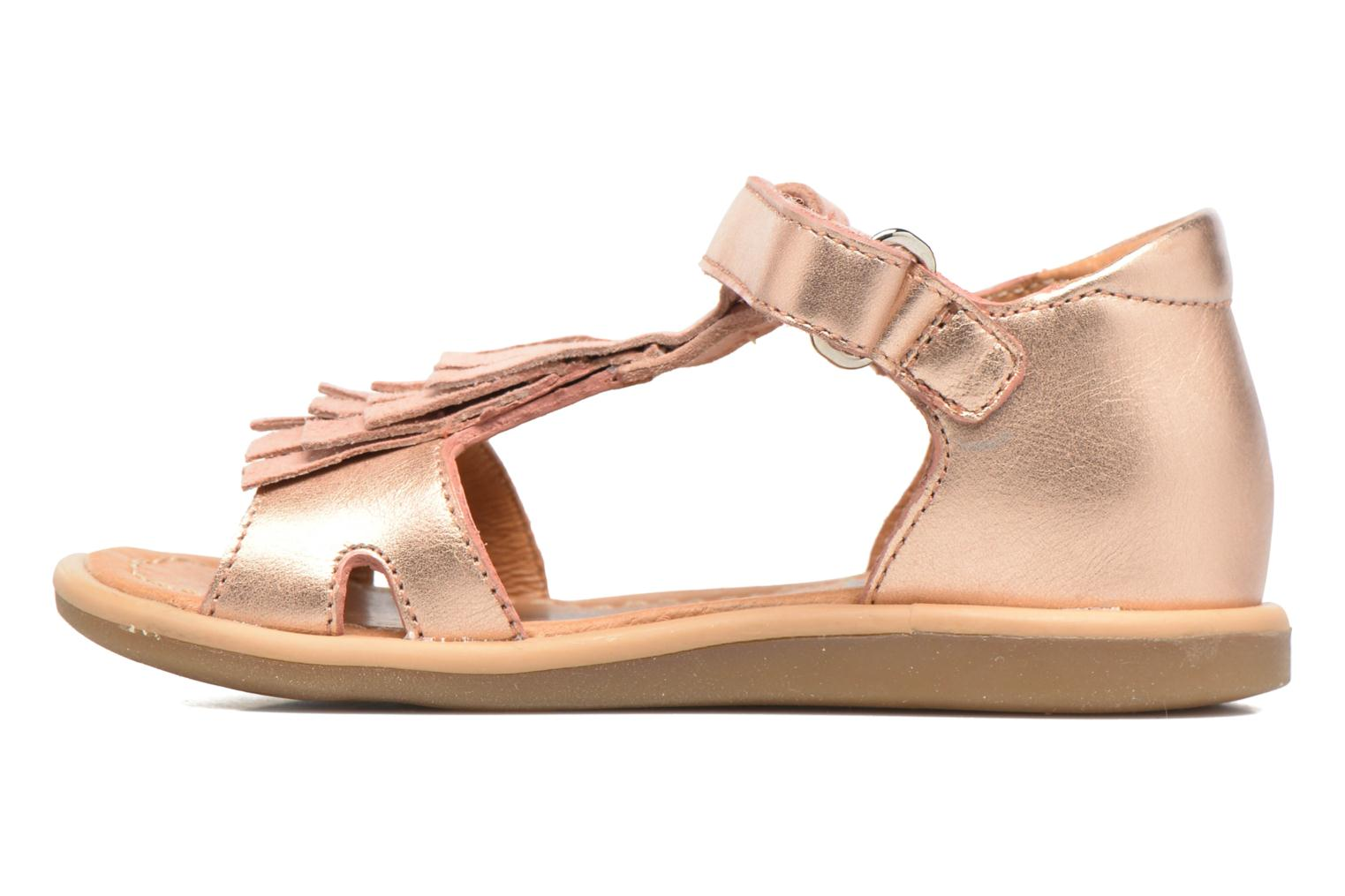 Sandals Shoo Pom Tity Fringe Bronze and Gold front view