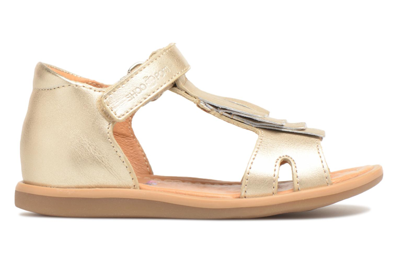 Sandals Shoo Pom Tity Fringe Bronze and Gold back view