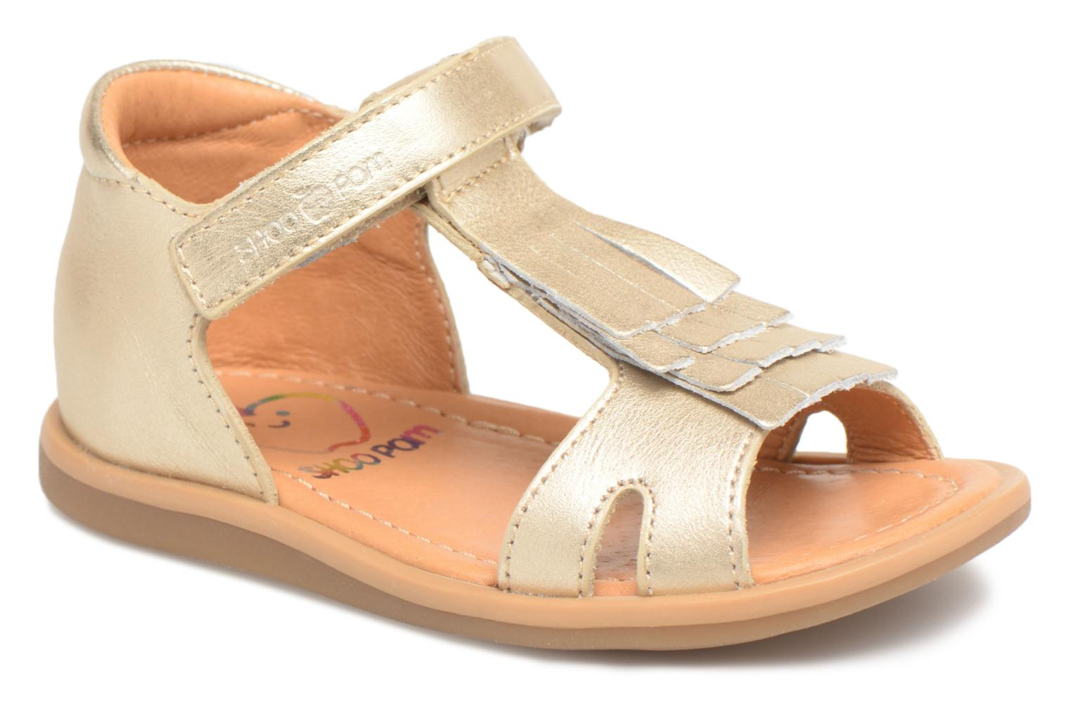 Sandals Shoo Pom Tity Fringe Bronze and Gold detailed view/ Pair view
