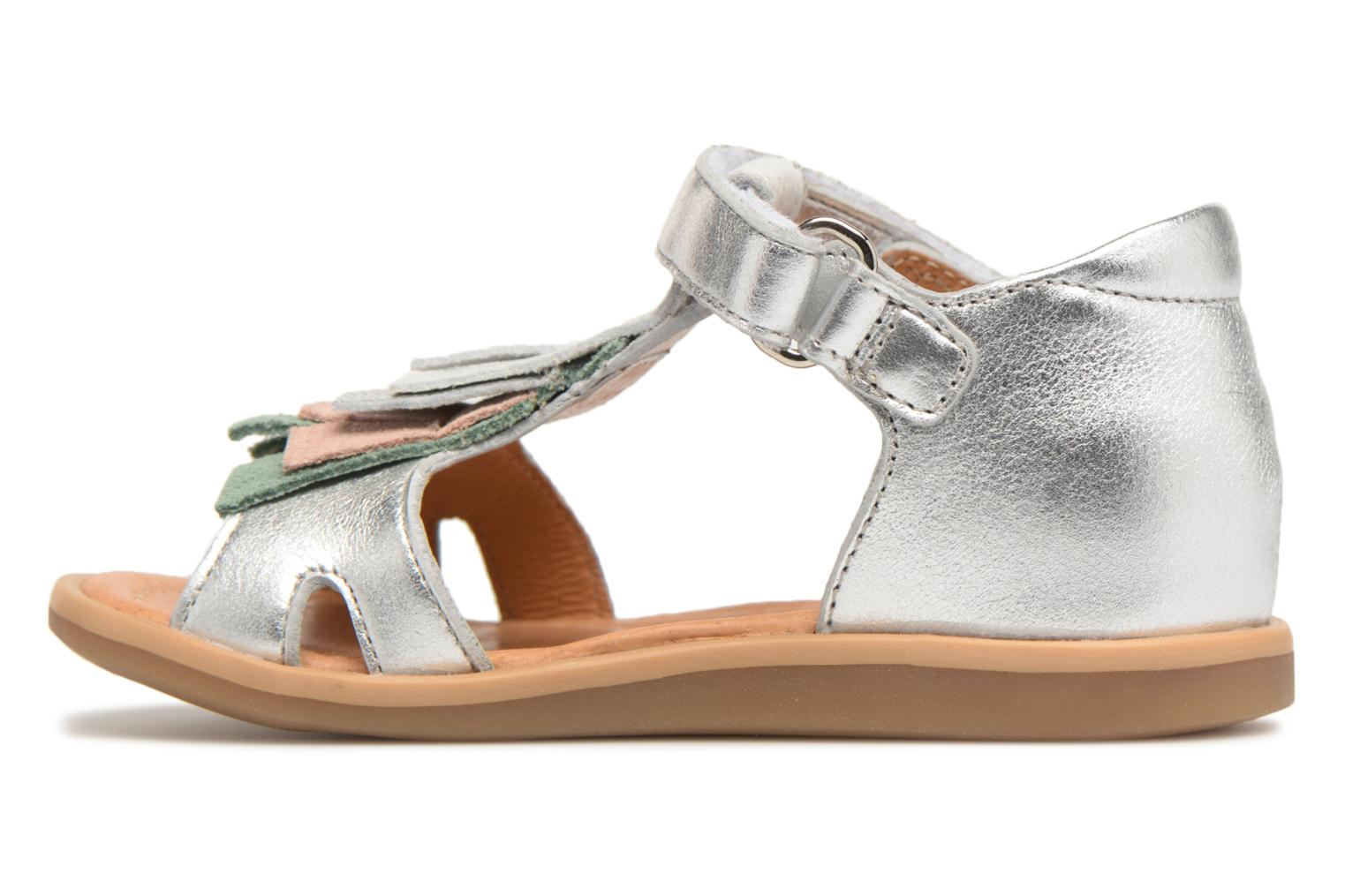 Sandals Shoo Pom Tity Fringe Silver front view