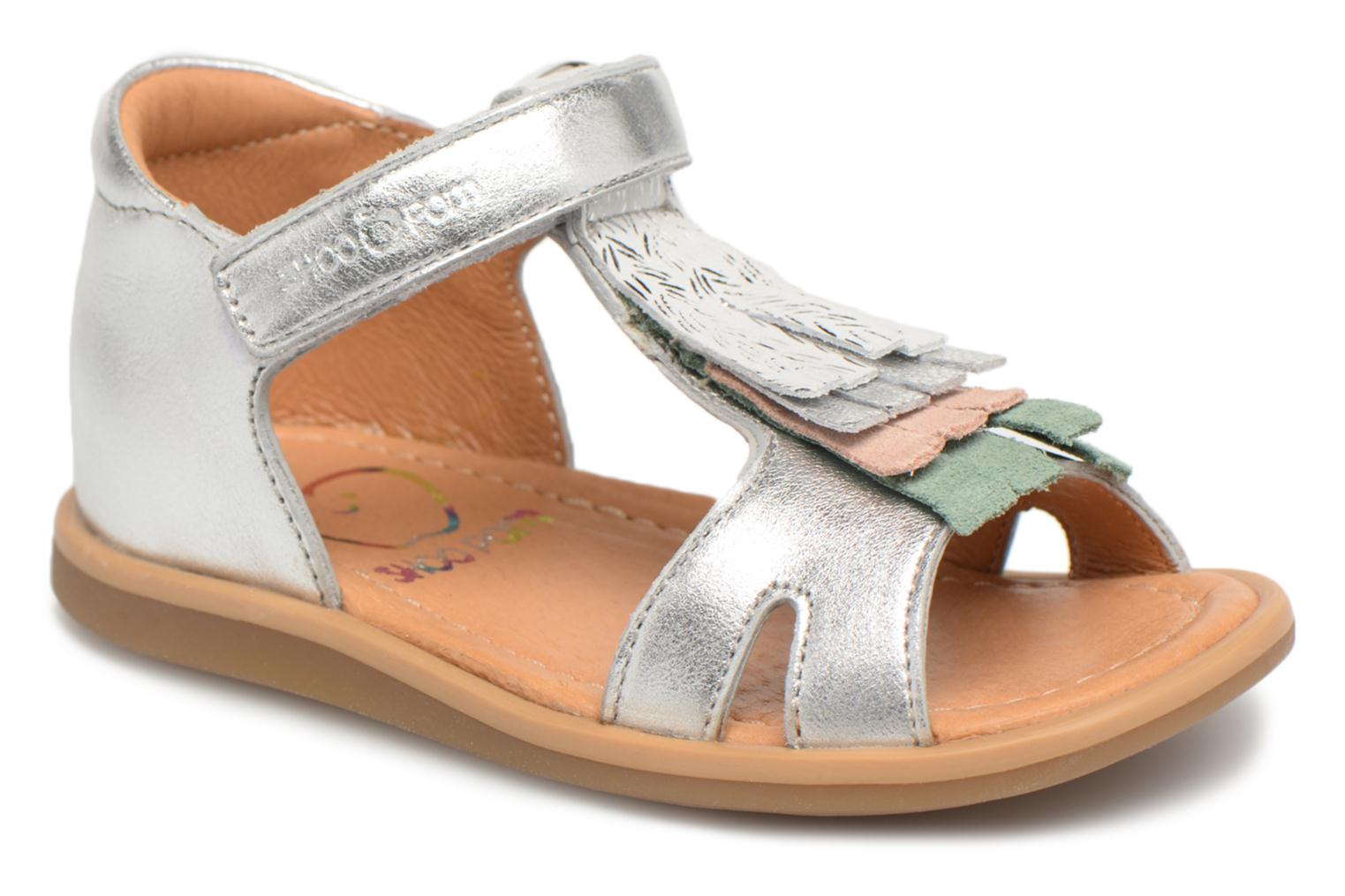Sandals Shoo Pom Tity Fringe Silver detailed view/ Pair view
