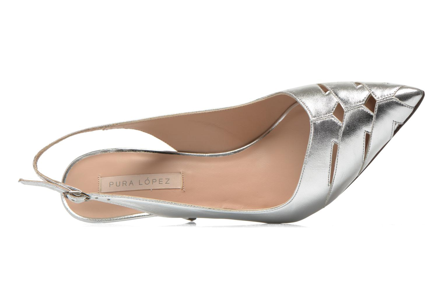 High heels Pura Lopez Carmen Silver view from the left
