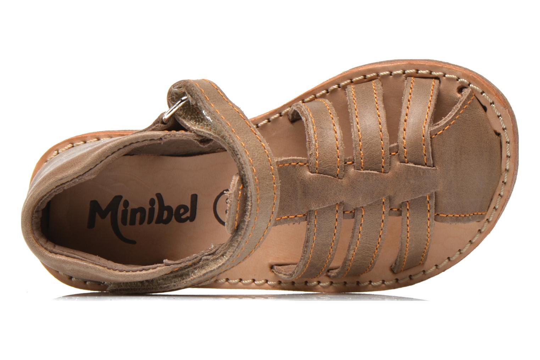 Sandalias Minibel Keou Marrón vista lateral izquierda