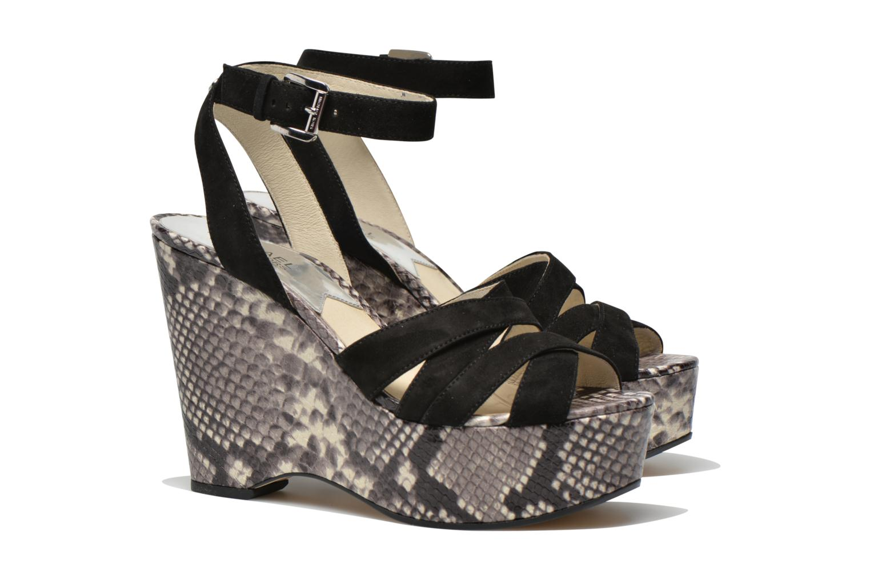 Sandals Michael Michael Kors Megan wedge Black 3/4 view