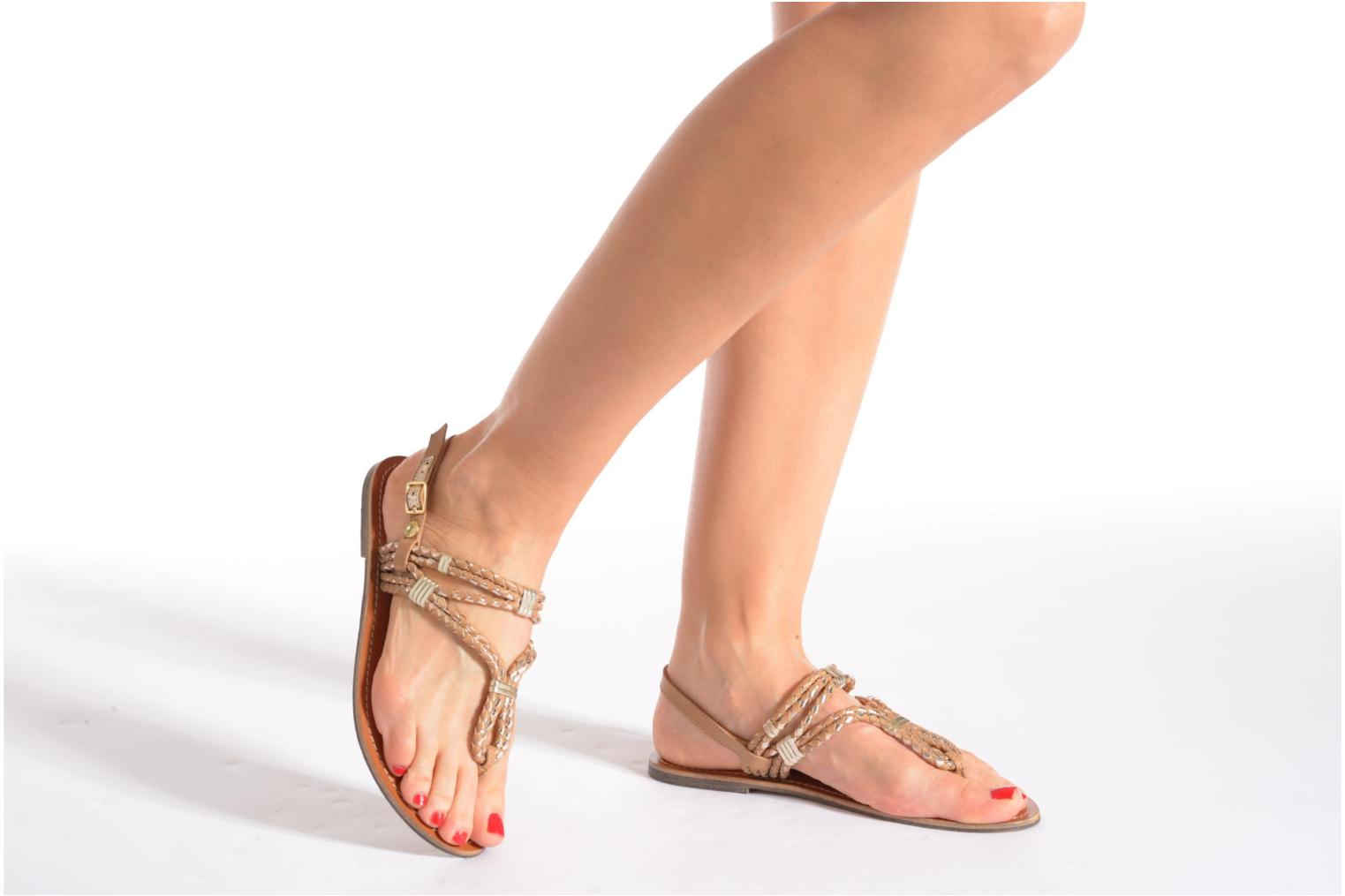 Sandals Pepe jeans Jane Woven Metallic Black view from underneath / model view