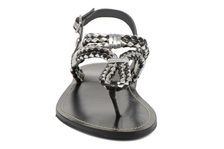 Sandalias Pepe jeans Jane Woven Metallic Negro vista del modelo