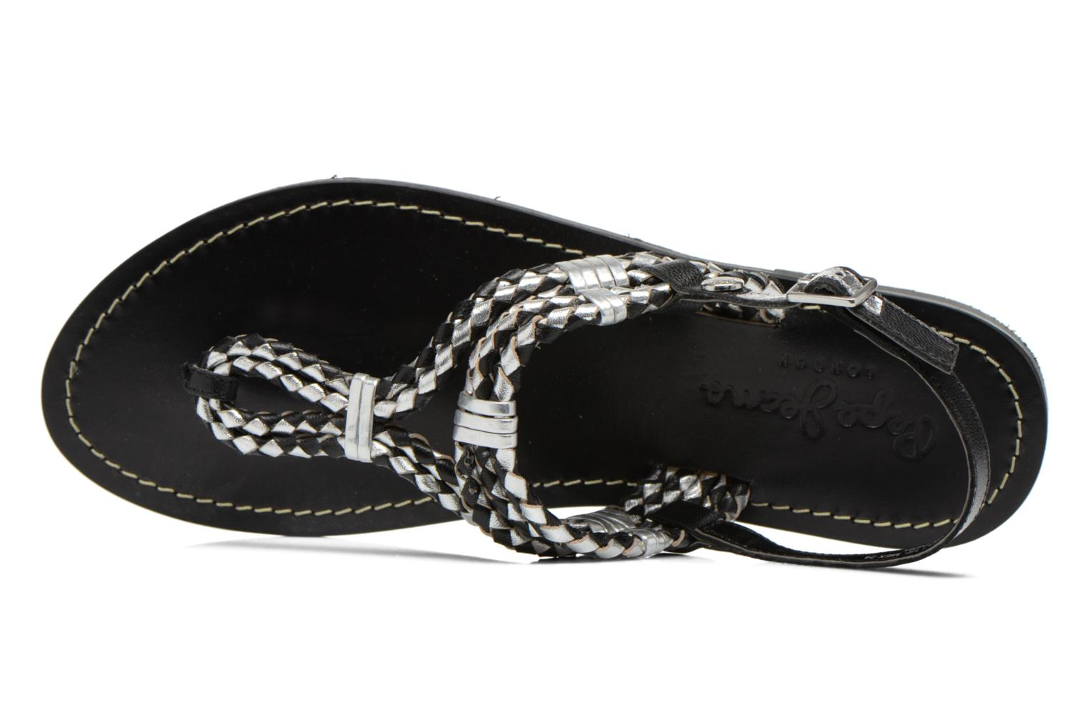 Sandals Pepe jeans Jane Woven Metallic Black view from the left