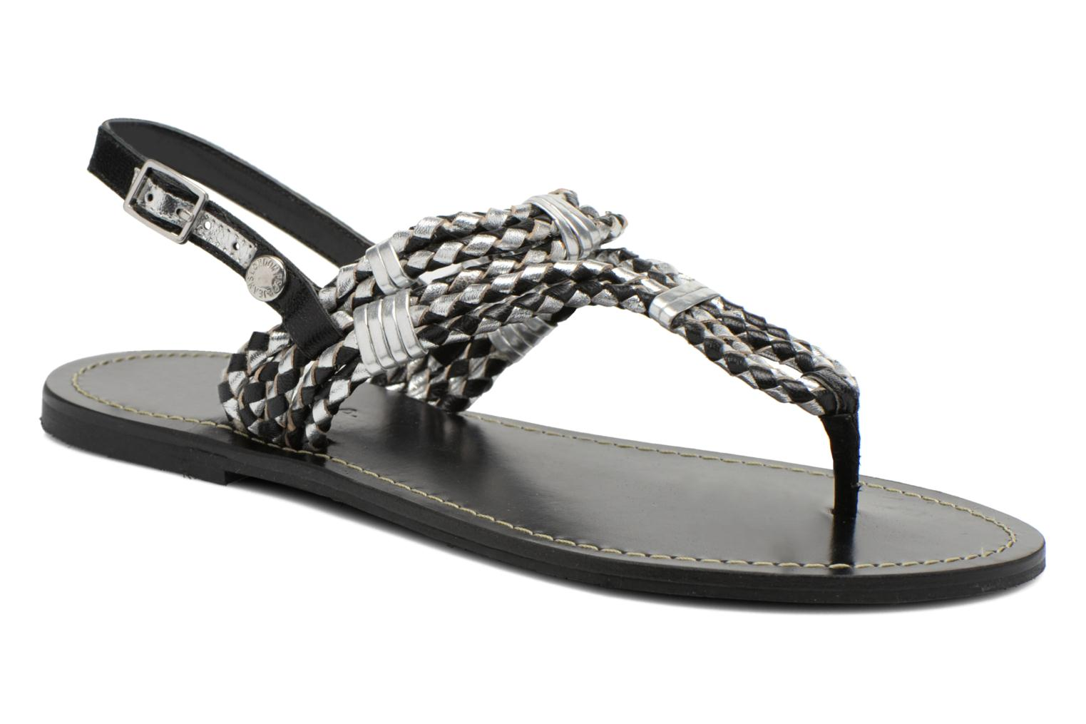 Sandals Pepe jeans Jane Woven Metallic Black detailed view/ Pair view