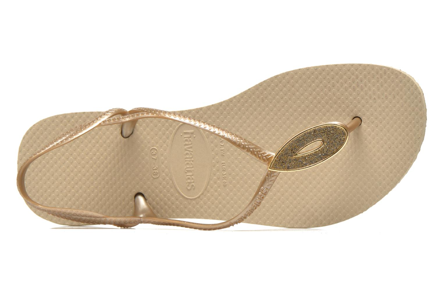 Flip flops Havaianas Luna Especial Bronze and Gold view from the left