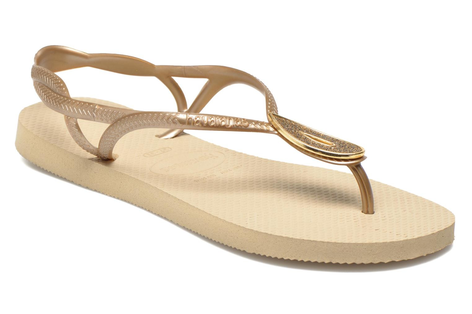 Flip flops Havaianas Luna Especial Bronze and Gold detailed view/ Pair view