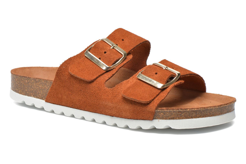Wedges Vero Moda Julia Leather Sandal Bruin detail