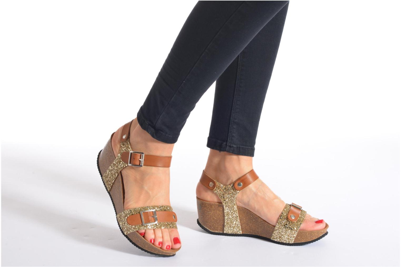 Sandales et nu-pieds Rondinaud Braye Or et bronze vue bas / vue portée sac