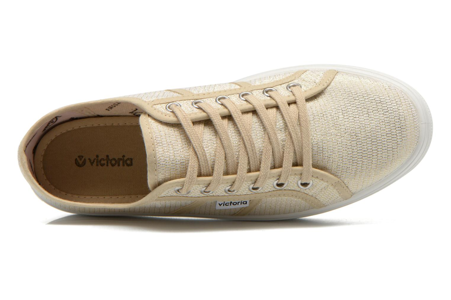 Trainers Victoria Basket Tejido Lurex Bronze and Gold view from the left