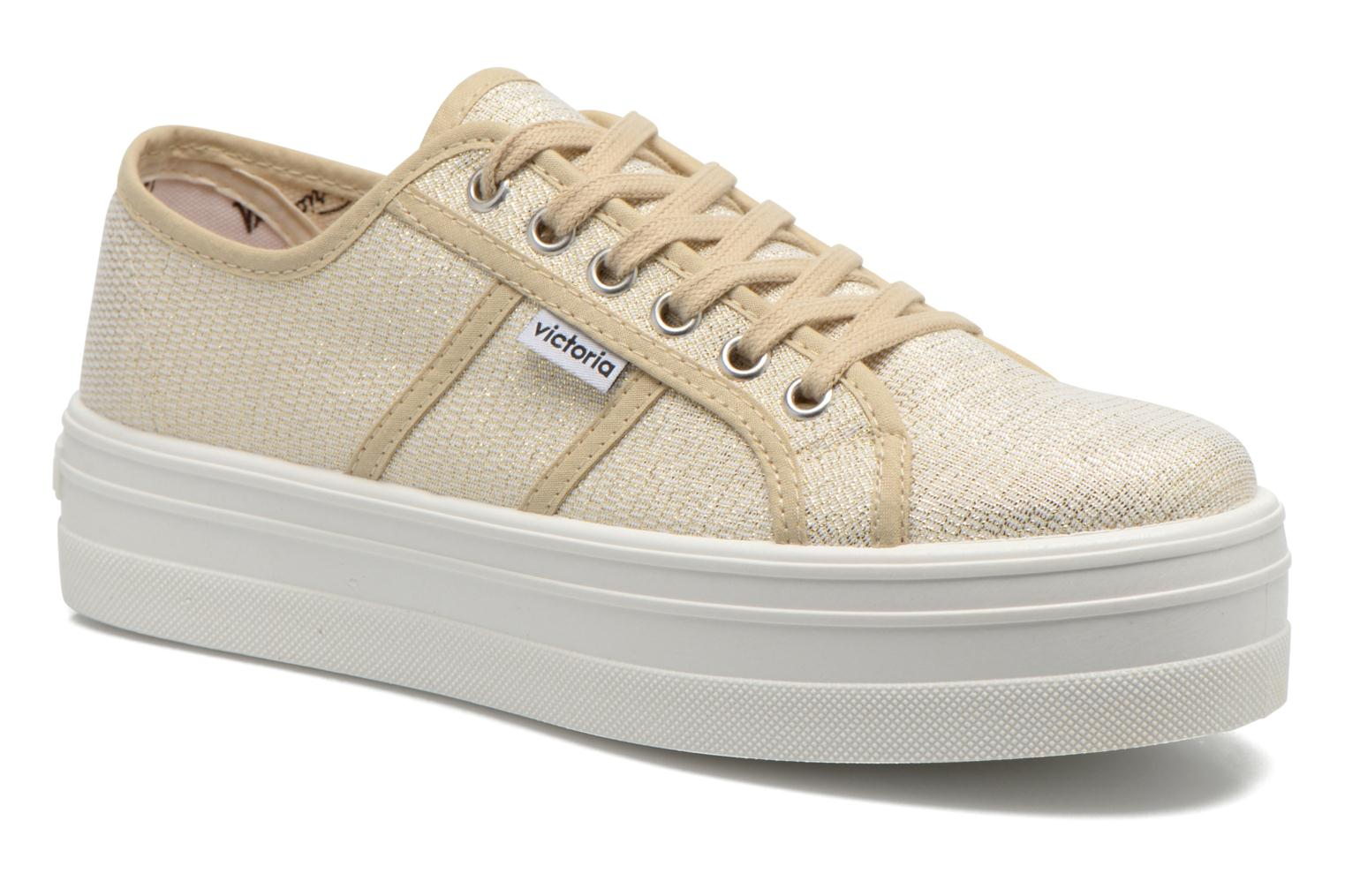 Trainers Victoria Basket Tejido Lurex Bronze and Gold detailed view/ Pair view