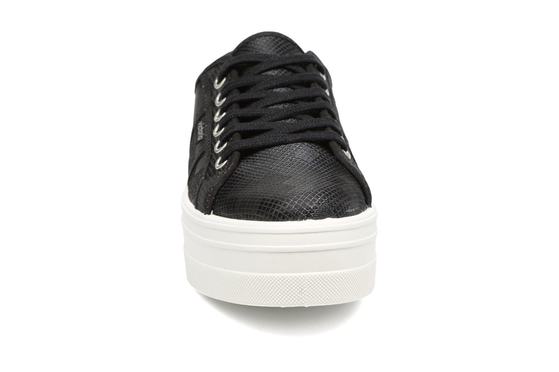 Baskets Victoria Basket Cuadros Brillo Plat Noir vue portées chaussures