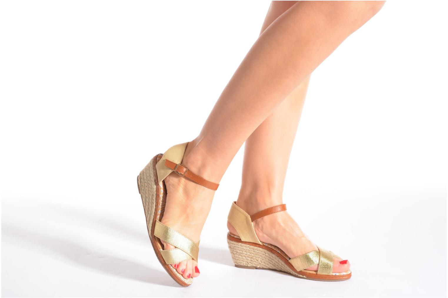 Sandals Eclipse Espadrille Pétal Bronze and Gold view from underneath / model view