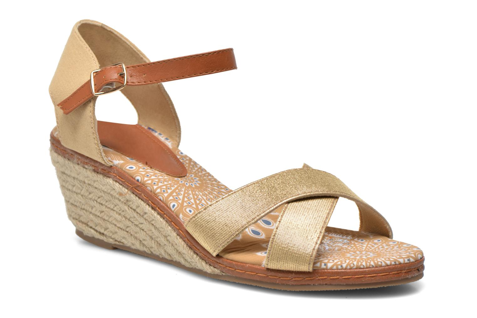 Sandals Eclipse Espadrille Pétal Bronze and Gold detailed view/ Pair view