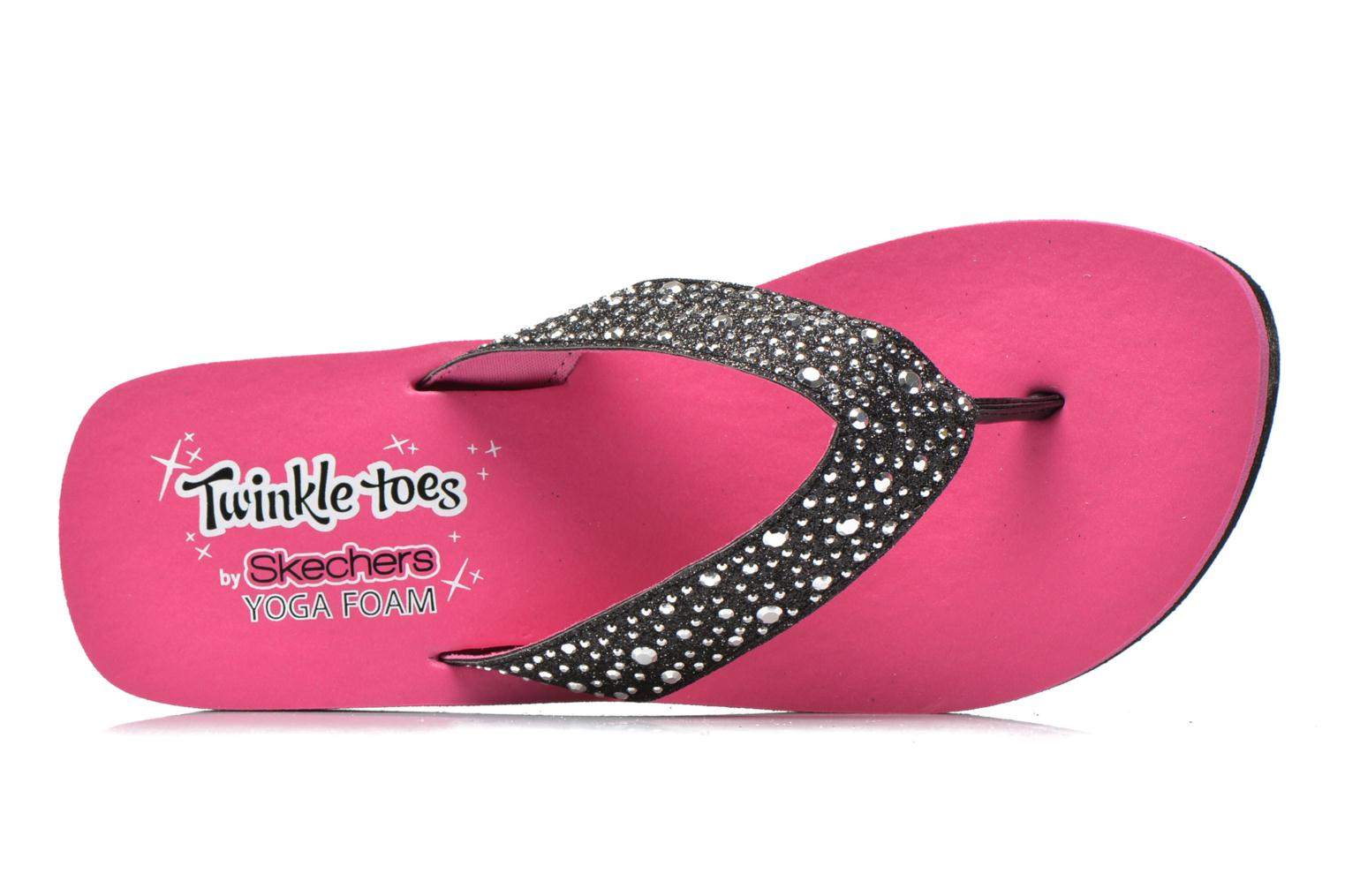 Glitter & Rhinestudded Sandal Black Hot Pink