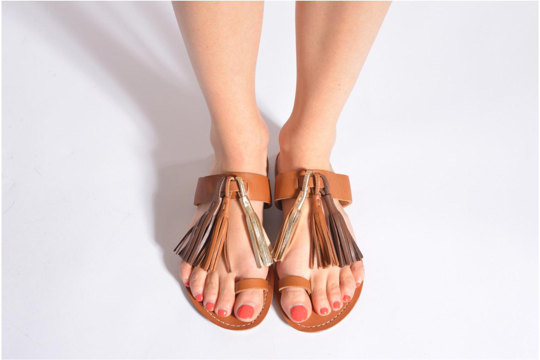 Clogs & Pantoletten Bensimon Sandale Pompon braun ansicht von unten / tasche getragen