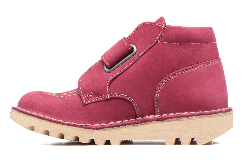 Chaussures à scratch Kickers Neokrafty Rose vue face