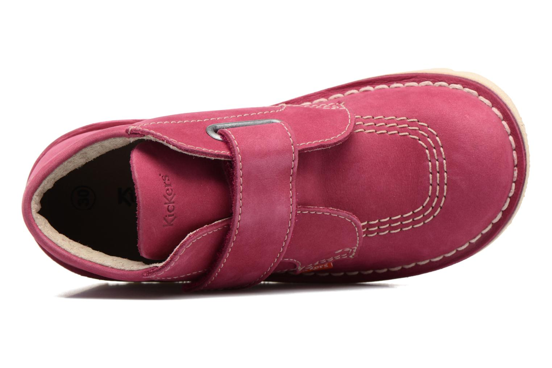 Chaussures à scratch Kickers Neokrafty Rose vue gauche
