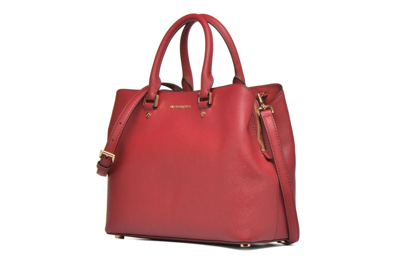 Bolsos de mano Michael Michael Kors SAVANNAH LG SATCHEL Rojo vista del modelo
