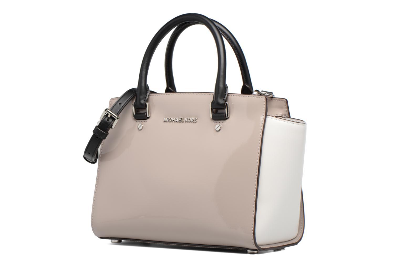 Handbags Michael Michael Kors SELMA MD TZ SATCHEL Grey model view
