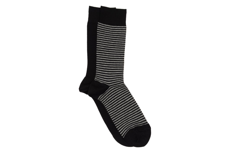 Calcetines Motifs Pack de 2 1 rayée : gris et noire / 1 unie : noire
